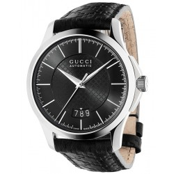 Gucci G-Timeless Swiss Automatic Leather Mens Watch YA126430