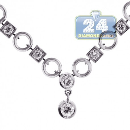 """Womens Diamond Drop Y Shaped Necklace 14K White Gold 16.75"""""""