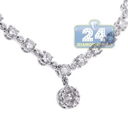 Womens Diamond Lariat Drop Necklace 14K White Gold 3.94ct 17""