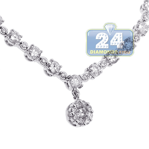 Womens Diamond Lariat Drop Necklace 14K White Gold 3.94ct 17