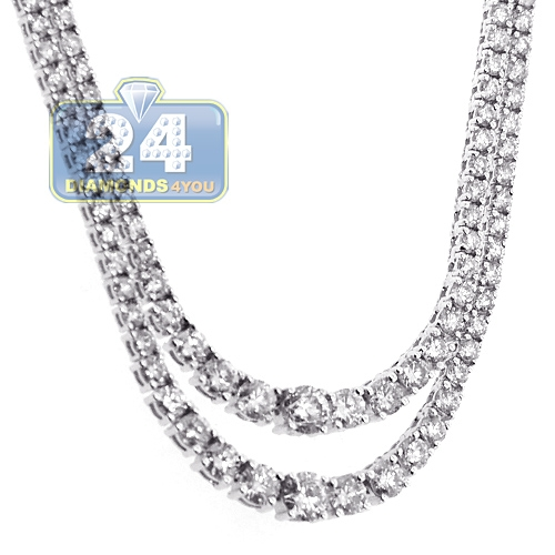 Womens Diamond Layered Tennis Necklace 18K White Gold 8.13ct e7bb04174