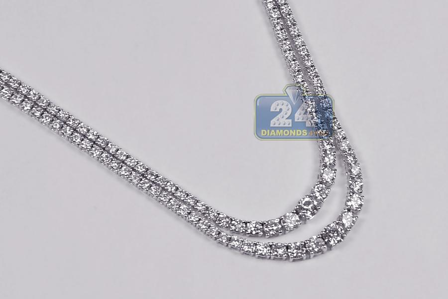 Womens Diamond Layered Tennis Necklace 18k White Gold 8 13ct