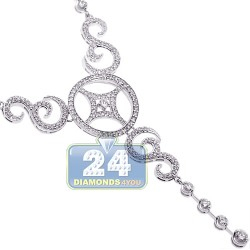 14K White Gold 2.80 ct Diamond Womens Y-Shaped Necklace