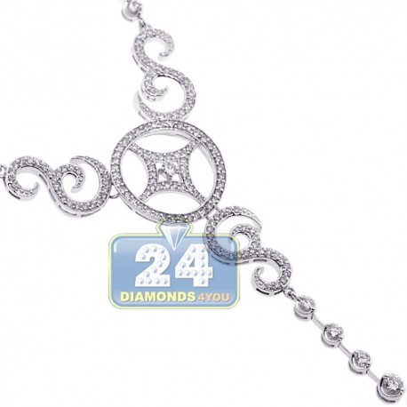 Womens Diamond Y-Shaped Lariat Necklace 14K White Gold 2.80ct