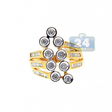14K Yellow Gold 0.80 ct Baguette Round Diamond Womens Abstract Ring