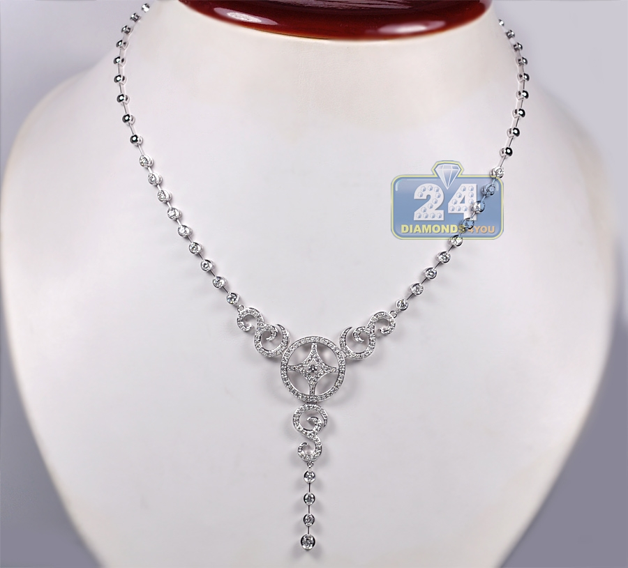 womens diamond y shaped lariat necklace 14k white gold. Black Bedroom Furniture Sets. Home Design Ideas