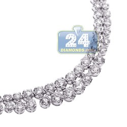 18K White Gold 9.11 ct Diamond Womens Tennis Necklace 17 Inches