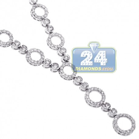 Womens Diamond Y Shape Drop Necklace 18K White Gold 3.90ct 16.5""