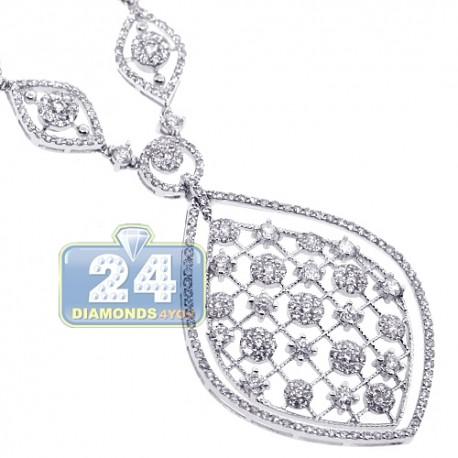 Womens Diamond Chandelier Pendant Necklace 18K White Gold