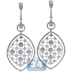 Womens Diamond Chandelier Earrings 18K White Gold 3.39 Carat