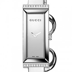 Gucci G-Frame Bangle Diamond Steel Womens Watch YA127505