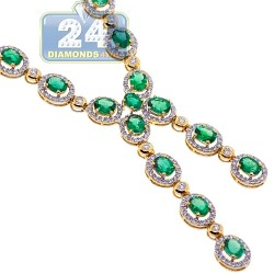 Womens Diamond Emerald Lariat Necklace 18K Yellow Gold 7.89ct 18""
