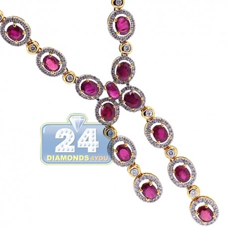 Womens Diamond Ruby Lariat Necklace 18K Yellow Gold 10.96ct 18""