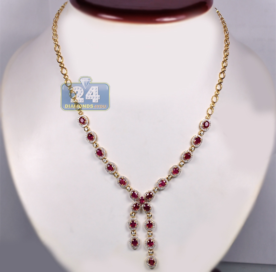 womens diamond ruby lariat necklace 18k yellow gold 10. Black Bedroom Furniture Sets. Home Design Ideas