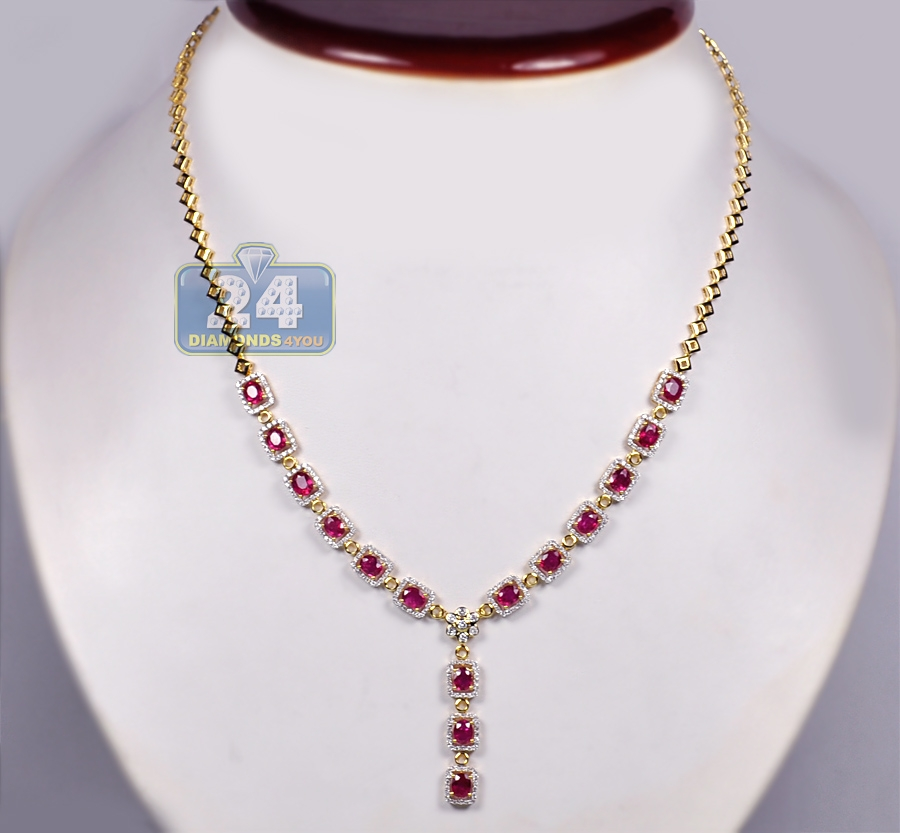 womens ruby diamond y shape drop necklace 18k yellow gold 18. Black Bedroom Furniture Sets. Home Design Ideas