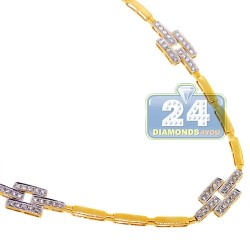 Womens Diamond Station Link Necklace 14K Yellow Gold 2.75ct 18""