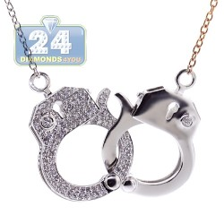 Womens Diamond Handcuffs Necklace 18K Two Tone Gold 0.54ct 30""