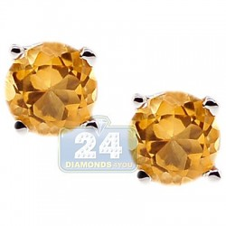 925 Sterling Silver 1.00 ct Citrine Womens Stud Earrings