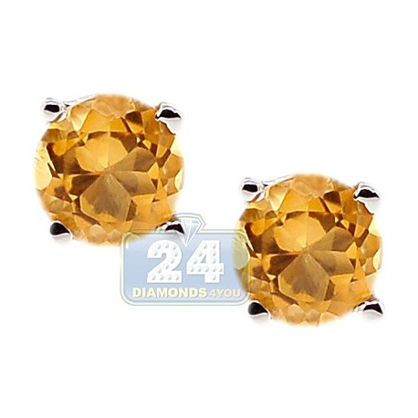 Womens Round Citrine Stud Earrings 925 Sterling Silver 1.00 ct