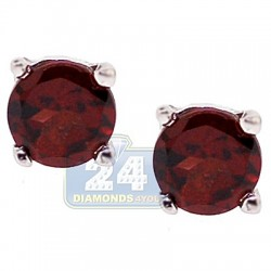 925 Sterling Silver 1.20 ct Garnet Womens Stud Earrings