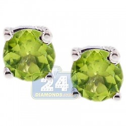 Womens Round Peridot Stud Earrings 925 Sterling Silver 1.00 ct