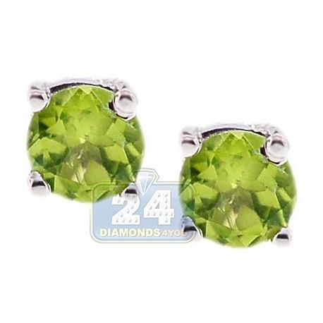 Womens Round Peridot Stud Earrings 925 Sterling Silver 1.00 ct