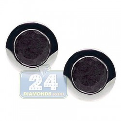 925 Sterling Silver 0.70 ct Black Sapphire Womens Stud Earrings