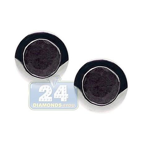 Womens Bezel Set Black Sapphire Stud Earrings Sterling Silver