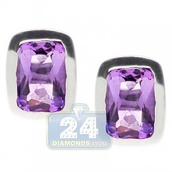 Womens Bezel Set Purple Amethyst Stud Earrings Sterling Silver