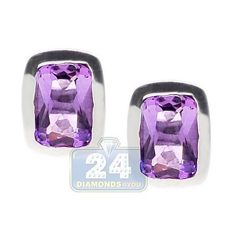 Womens Bezel Set Purple Amethyst Stud Earrings Sterling Silver
