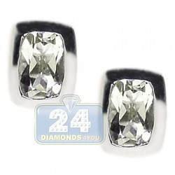 925 Sterling Silver 1.10 ct Green Amethyst Womens Stud Earrings