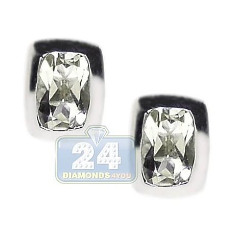 Womens Bezel Set Green Amethyst Stud Earrings Sterling Silver