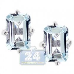 925 Sterling Silver 1.00 ct Aquamarine Womens Stud Earrings