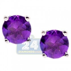 Womens Purple Amethyst Stud Earrings 925 Sterling Silver 1.0 ct