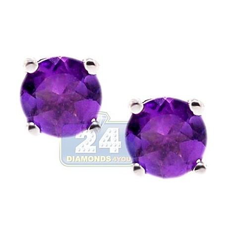 Womens Purple Amethyst Stud Earrings 925 Sterling Silver 1.0 ct