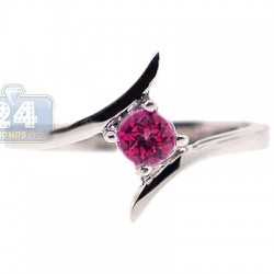 925 Sterling Silver 0.35 ct Pink Topaz Womens Bypass Ring