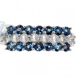 925 Sterling Silver 3 Row Blue White Topaz Womens Band Ring