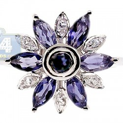925 Sterling Silver 1.42 ct Iolite Topaz Womens Flower Ring