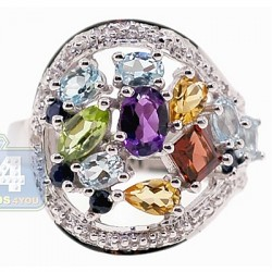 925 Sterling Silver 3.29 ct Multi Colored Gemstone Womens Ring
