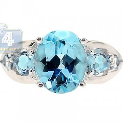 925 Sterling Silver 4.31 ct Blue Topaz Multi Stone Womens Ring
