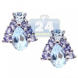Womens Topaz Tanzanite Stud Earrings 925 Sterling Silver 1.62 ct