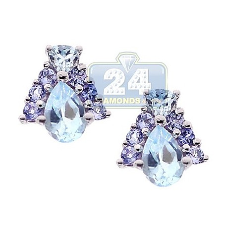 Womens Topaz Tanzanite Stud Earrings 925 Sterling Silver 1.62 ct