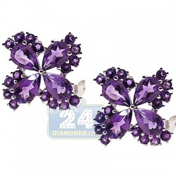 Womens Amethyst Flower Stud Earrings 925 Sterling Silver 9.80 ct