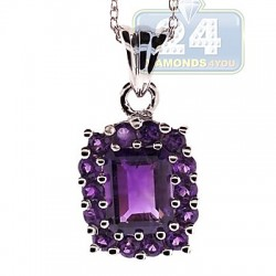 Womens Purple Amethyst Cluster Pendant Necklace Sterling Silver