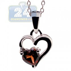 925 Sterling Silver 0.50 ct Garnet Heart Pendant Womens Necklace