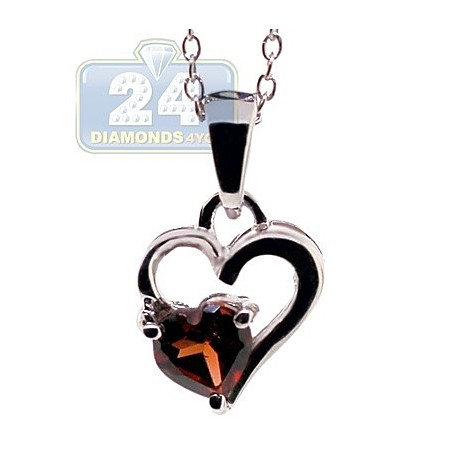 Womens Garnet Heart Pendant Necklace Sterling Silver 0.50ct