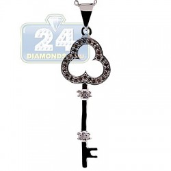 925 Sterling Silver 0.23 ct Diamond Key Pendant Womens Necklace
