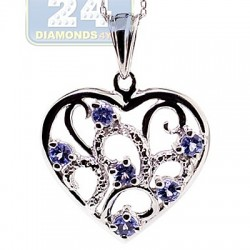 Womens Tanzanite Topaz Heart Pendant Necklace Sterling Silver