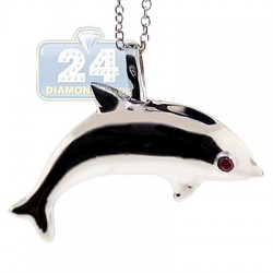 Womens Ruby Dolphin Pendant Necklace 925 Sterling Silver 18""