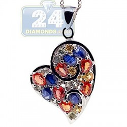 925 Sterling Silver 3.03 ct Gemstone Heart Pendant Womens Necklace